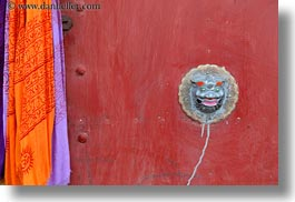 asia, asian, colors, doors, dragons, horizontal, knockers, lhasa, red, scarves, style, tibet, photograph