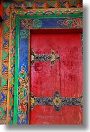 asia, asian, colorful, colors, doors, frames, lhasa, ornate, red, style, tibet, vertical, woods, photograph
