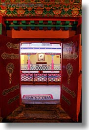 asia, asian, colors, doors, lhasa, mat, ornate, red, style, tibet, vertical, welcome, photograph
