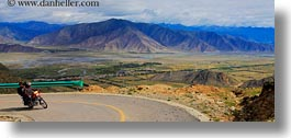 asia, bicycles, ganden monastery, horizontal, landscapes, lhasa, motor, panoramic, tibet, photograph