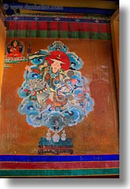 asia, buddhist, ganden monastery, lhasa, paintings, tibet, vertical, photograph