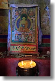 asia, buddhas, candles, ganden monastery, glow, lhasa, lights, paintings, tibet, vertical, photograph