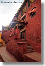 asia, doors, ganden monastery, lhasa, stairs, tibet, vertical, windows, photograph