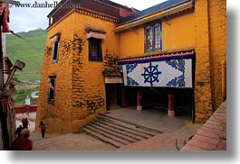 asia, doors, ganden monastery, horizontal, lhasa, stairs, tibet, windows, photograph