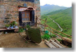 asia, ganden monastery, horizontal, landscapes, lhasa, tibet, windows, photograph