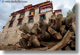 asia, buildings, ganden monastery, horizontal, lhasa, logs, tibet, windows, woods, photograph