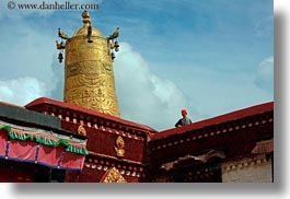 asia, buddhist, clouds, golden, horizontal, jokhang temple, lhasa, nature, religious, roofs, sky, temples, tibet, towers, photograph