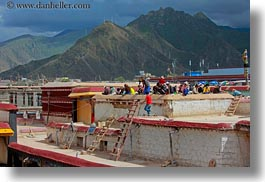 asia, clouds, horizontal, jokhang temple, lhasa, mountains, nature, people, roofs, sky, tibet, working, photograph