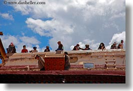asia, clouds, horizontal, jokhang temple, lhasa, nature, people, roofs, sky, tibet, working, photograph