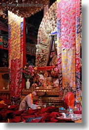 asia, buddhist, jokhang temple, lhasa, prayers, religious, rooms, temples, tibet, vertical, photograph