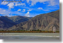 asia, bridge, horizontal, landscapes, lhasa, mountains, tibet, photograph