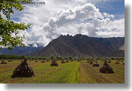 asia, clouds, fields, horizontal, landscapes, lhasa, mountains, nature, sky, tibet, photograph
