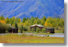 asia, cabins, floating, horizontal, landscapes, lhasa, mountains, nfoliage, tibet, trees, photograph