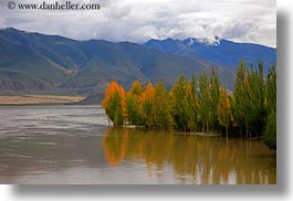 asia, fog, foliage, horizontal, lakes, landscapes, lhasa, mountains, nature, reflections, tibet, trees, water, photograph