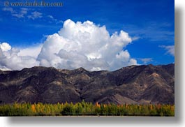 asia, clouds, horizontal, landscapes, lhasa, mountains, tibet, photograph