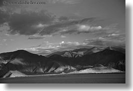 asia, black and white, clouds, dunes, horizontal, lakes, landscapes, lhasa, mountains, nature, sand, tibet, water, photograph