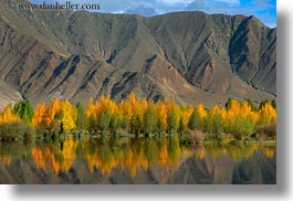 asia, clouds, horizontal, lakes, landscapes, lhasa, mountains, nature, reflections, tibet, trees, water, photograph