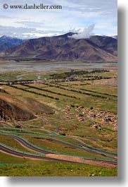 asia, landscapes, lhasa, mountains, roads, tibet, vertical, winding, photograph