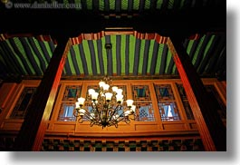 asia, chandelliers, glow, green, horizontal, lhasa, lights, rafters, tibet, photograph