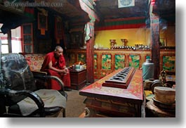 alone, asia, buddhist, horizontal, lhasa, men, monks, people, religious, rooms, sitting, tibet, photograph