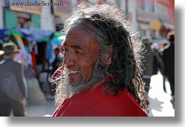 asia, horizontal, lhasa, men, old, people, smiling, tibet, photograph