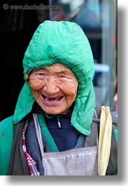 asia, emotions, lhasa, old, people, smiles, smiling, tibet, toothless, vertical, womens, photograph