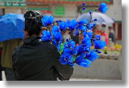asia, blues, carrying, flowers, horizontal, lhasa, people, tibet, womens, photograph