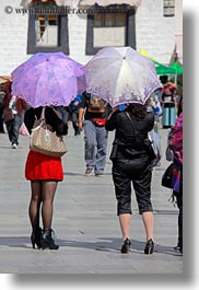 asia, heels, high, lhasa, people, tibet, umbrellas, vertical, womens, photograph