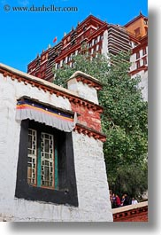 asia, lhasa, potala, tibet, vertical, windows, photograph