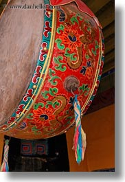 asia, colorful, drums, lhasa, potala, tibet, vertical, photograph