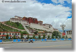 asia, clouds, from, horizontal, lhasa, nature, palace, potala, sky, streets, tibet, photograph