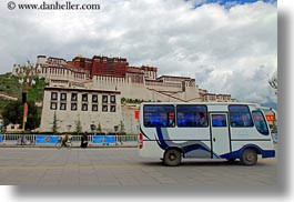 asia, bus, clouds, horizontal, lhasa, nature, palace, potala, sky, tibet, photograph