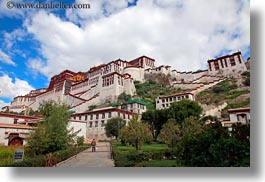 asia, clouds, horizontal, lhasa, nature, palace, potala, sky, tibet, photograph
