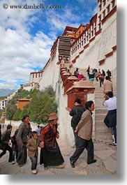 asia, clouds, lhasa, nature, people, potala, sky, stairs, tibet, vertical, walking, photograph
