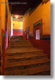 asia, glow, hallway, lhasa, lights, potala, stairs, tibet, vertical, photograph