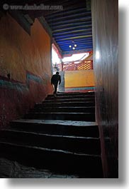 asia, glow, hallway, lhasa, lights, potala, silhouettes, stairs, tibet, vertical, photograph