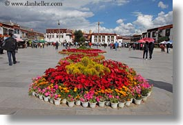 asia, flowers, horizontal, lhasa, squares, streets, tibet, photograph