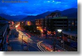 asia, cities, clouds, glow, horizontal, lhasa, lights, long exposure, nature, nite, sky, streets, tibet, traffic, photograph