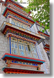 apartments, asia, big, lhasa, tibet, vertical, windows, photograph