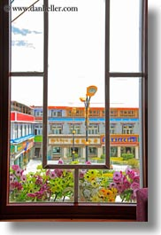 asia, buildings, lhasa, plants, tibet, vertical, windows, photograph
