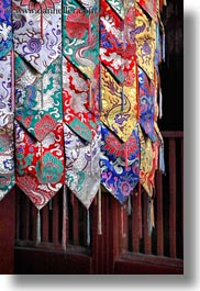 asia, asian, buddhist symbols, colorful, silk, style, tan druk temple, tibet, vertical, photograph