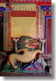 asia, asian, buddhist symbols, dragons, style, tan druk temple, tibet, vertical, photograph