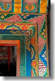 asia, asian, colorful, doorframe, style, tan druk temple, tibet, vertical, photograph