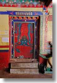 asia, asian, devils, doors, style, tan druk temple, tibet, vertical, photograph