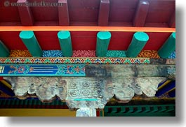 asia, asian, beams, ceilings, colorful, horizontal, interiors, style, tan druk temple, tibet, photograph