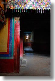 asia, asian, dark, hallway, interiors, style, tan druk temple, tibet, vertical, photograph