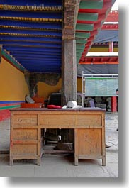 asia, asian, desks, hats, interiors, style, tan druk temple, tibet, vertical, photograph