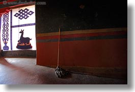 asia, asian, glow, horizontal, interiors, lights, mops, style, tan druk temple, tibet, walls, photograph