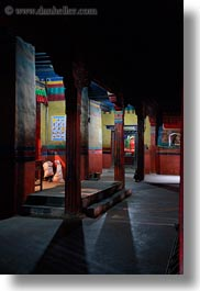asia, asian, interiors, pillars, shadows, style, tan druk temple, tibet, vertical, photograph