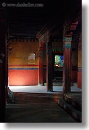 asia, asian, glow, interiors, lights, pillars, shadows, style, tan druk temple, tibet, vertical, photograph